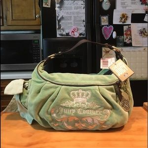 Juicy Couture Lime/Brown Shoulder Hobo Bag NWT